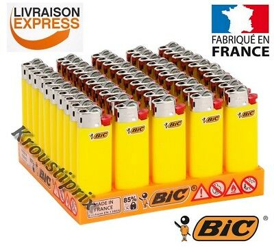 Briquets BIC Mini JAUNE FLUO - Au choix lot de 5 à 100 Briquet - Made in France