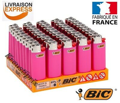 Briquets BIC Mini ROSE FLUO - Au choix lot de 5 à 100 Briquet - Made in France