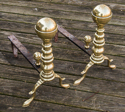 Antique American Federal Brass Firedogs Andirons Hand Wrought Seamed 1780-1820