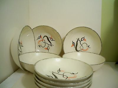 Blue Ridge Pottery Shadow Fruit Cereal Bowls & Berry Bowles