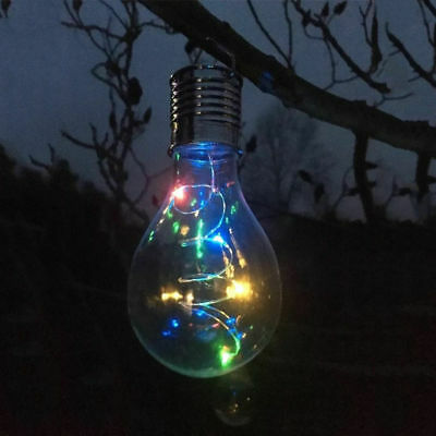 Solar Hanging Bulb Colour Changing Lights 1-12 LED Firefly Clear Garden Decking