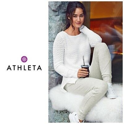 32215db4268520 Athleta Cypress Sweater Merino Wool Blend Chunky Knit Ivory White Small  152688