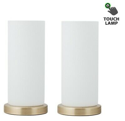 Pair of Modern Antique Brass & Opal Glass Touch Table Lamps Bedside Lights