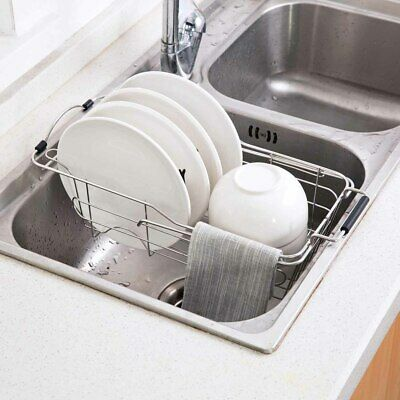 Over the Sink Dish Drying Rack Stainless Steel Expandable Kitchen Dish Drainer