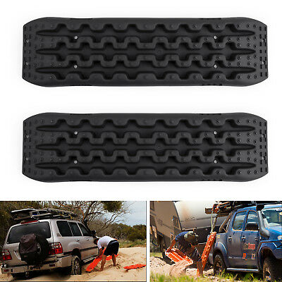 2X Recovery Traction Sand Tracks Snow Mud Track Tire Ladder 4WD Off Road Black E