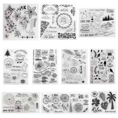 Transparent Silicone Clear Stamp Cling Seal Scrapbook Embossing Album Xmas Decor