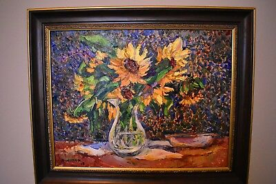"Impressionism Oil Fine Art.Sunflowers Bouquet. Original. Ducuron artist 14""x18""."