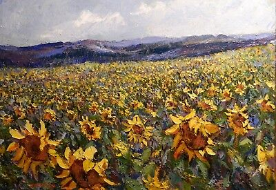 "Impressionism Oil Fine Art. Sunflowers field.Orig. Ducuron artist 26""x31"" Canvas"
