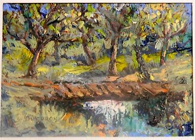 "Impressionism Oil Fine Art .The old bridge. Ducuron  internation artist. 9""x11"""