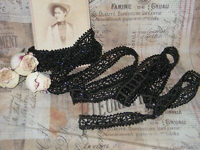 AMAZING Antique French Victorian Beaded Glass Trim 3 yards- Doll-Dress Millinery