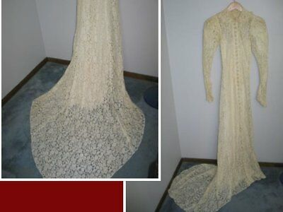 Antique Vintage Wedding Dress 1930s-1940s French Alencon Net Lace Long train