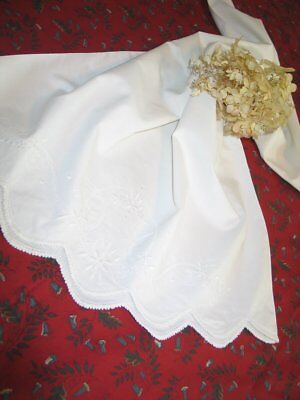 French Country Antique Vintage Victorian Pillowcase Hand Crochet Lace-Embroidery