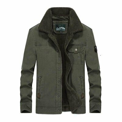 Men's Coat Warm Thick Fleece Casual Cotton Fur Collar Military Outwear for Winte