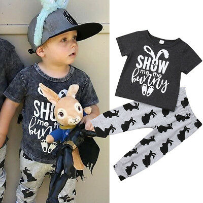 UK Toddler Baby Boy Easter Rabbit Clothes T-Shirt Tops+Long Leggings Outfit Set