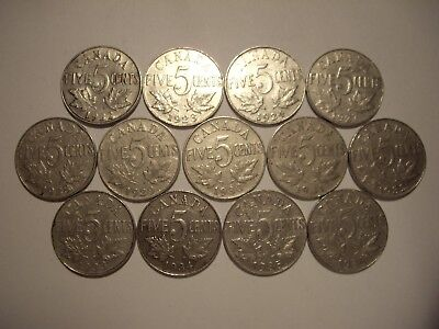 C Canada George V 1922 - 1936 Five Cents - Lot of 13 Coins