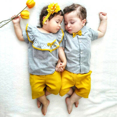 UK Big/Little Sister Brother Matching Baby Girl Boy Tops Shorts Summer Outfits