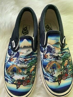 6a27c85451 RARE Vans Classic Slip On Japanese Koi Fish blue waves Canvas Shoes Mens  Size 7