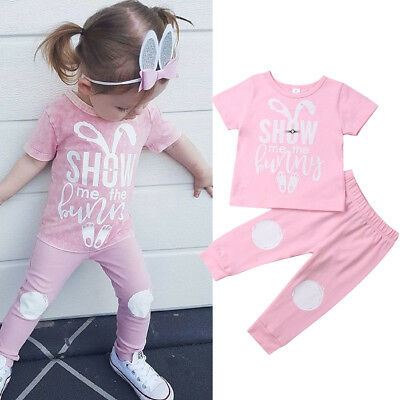 Pants Festival Outfits UK Toddler Baby Girl Easter Rabbit Clothes T-Shirt Tops