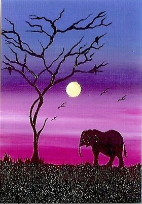 ACEO GLOSSY PRINT Elephant Sunset Africa Landscape Birds Nature Art Print HYMES