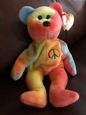 1ce8dccd6d9 RARE 1996 Peace Bear Ty Beanie Baby With ERRORS New Retired Collectible Bear