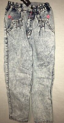 Vintage 80s Little Levi's Acid Wash Size 6 Blue Jeans Strauss Pants Pink Buttons