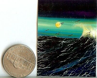PRINT 2x1.5 Inch GLOSSY Sunset Seascape Boat Dollhouse PRINT 1:12 Scale HYMES