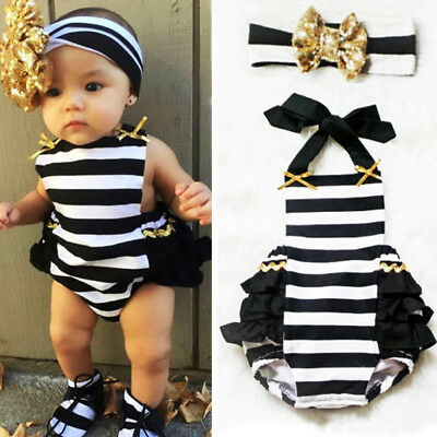 63162d943 Toddler Baby Girl Striped Bodysuit Romper Jumpsuit Sunsuit Outfits Clothes  0-24M