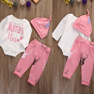 3 x Newborn Infant Baby Girl Clothes Romper Playsuit Pants Headband Outfit kit