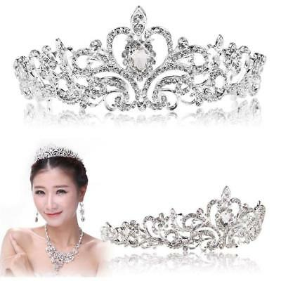 Luxury Clear Crystal Rhinestone Hollow Crown For Women Lady Girl Hair Band BE
