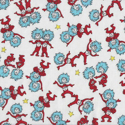 Dr Seuss Thing 1 Thing 2 Yellow Stars Kids Quilting Fabric FQ or Metre *New*