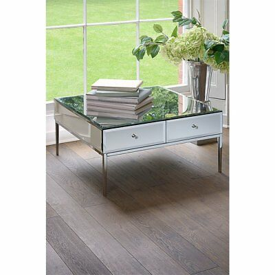 Mirrored Coffee Table Furniture Venetian Chrome Metal Frame