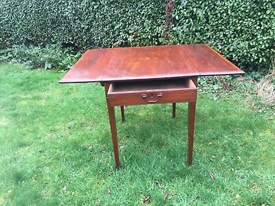 Antique original inlaid mahogany small pembroke table with drawer