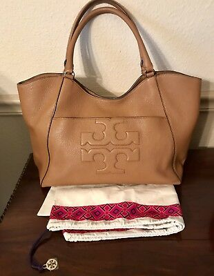 Tory Burch Bombe T Large East West Tote Bag Bark Tan Pebble Leather  EXCELLENT d0319147812e2