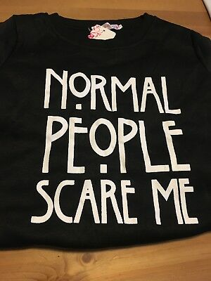 "American Horror Story Jumper Small. Xs Black ""Normal People Scare Me"""