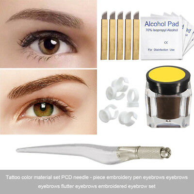 Microblading Permanent 3D Makeup Eyebrow Tattoo Pen Needles Pigment Ink Kit Set
