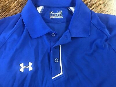 UNDER ARMOUR men's size large loose fit heat gear royal blue golf sports polo