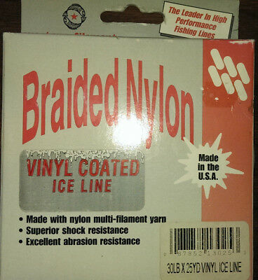 Braided Nylon 25 yard spool of 30 lb Test Ice Fishing Line Black Vinyl Coated