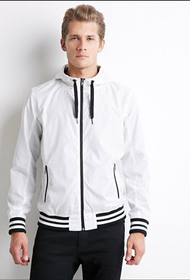 1af42ab04a6a Rare Forever 21 Mens Varsity Hooded Nylon Glanz White Jacket Medium Gently  Used