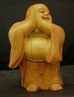 Finely Carved Vintage Wooden Clapping Buddha