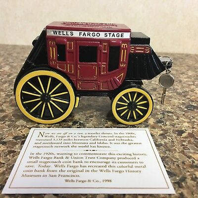 NEW! WELLS FARGO Stagecoach Metal Coin Bank Piggy Fast shipping!