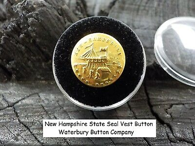 Old Rare Vintage Antique War Relic New Hampshire State Seal Vest Button