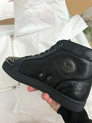 wholesale dealer cbe54 9a137 CHRISTIAN LOUBOUTIN BLACK Lou Spikes High Top Sneakers With Silver Spikes  New