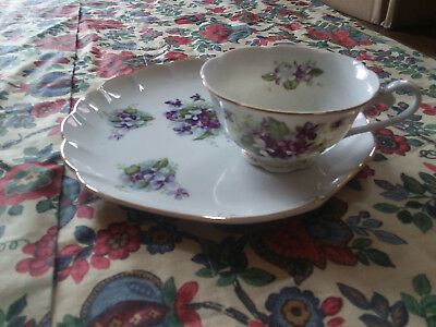 Tea Cup and Snack Plate Saucer Lefton China Violets