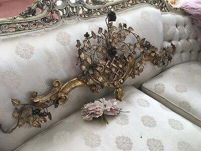 Rare Antique Gilt Architectural Wood Metal Tole Roses Shabby Garden