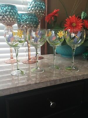 Hand Painted Wine Glasses Beach Themed Lobster Blue Crab Seashell