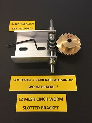 "Brass Worm Gear Set With 1/4"" Bore-Ball Bearing Shaft Cinch-Worm Bracket 50:1"