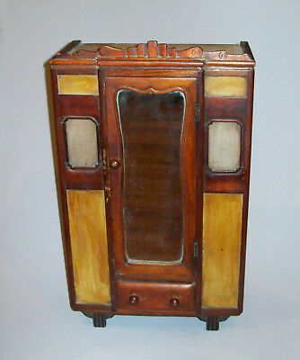 "Old Antique Vtg Mid 19th C 1800s Miniature Folk Art Hand Made 17"" Empire Armoire"