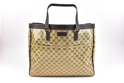 "GUCCI: Brown, Leather & Crystal ""GG"" Logo Large Tote/Weekender Travel Bag (mz)"