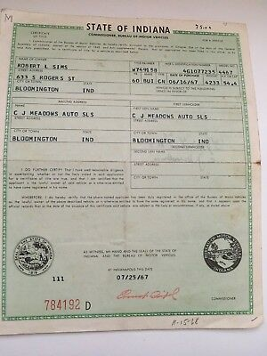 1960 Buick Convertible Historical Document ( Indiana )