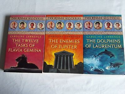 3 THE ROMAN MYSTERIES BOOKS Bulk Lot! CAROLINE LAWRENCE
